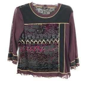 Tribal Size Large 3/4 Sleeve Blouse